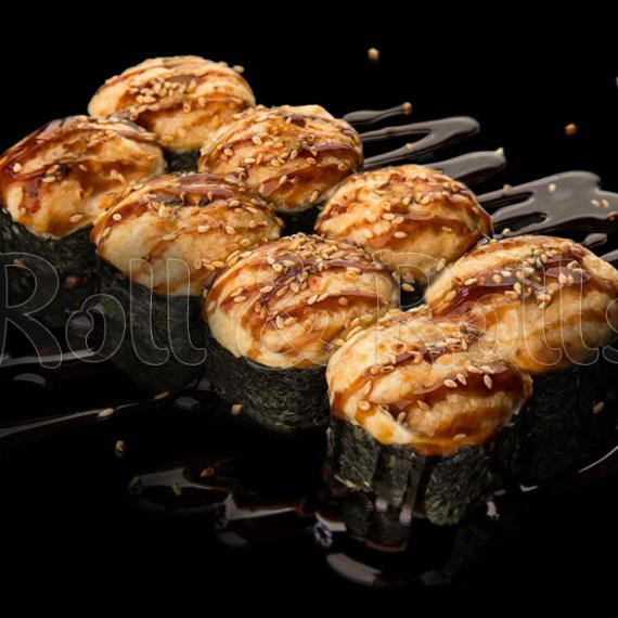 Запечённый спайси ролл с копчёным лососем